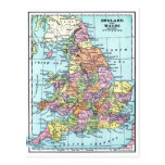Vintage Map - England & Wales Postcard