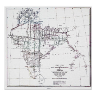 Vintage Map Index Chart Survey of India Poster