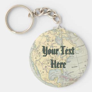 Vintage Map Keychain