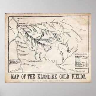 Vintage Map - Klondike - Dawson Gold Fields 1898 Poster