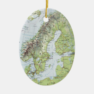 Vintage Map Norway Sweden Finland Netherlands Christmas Ornament