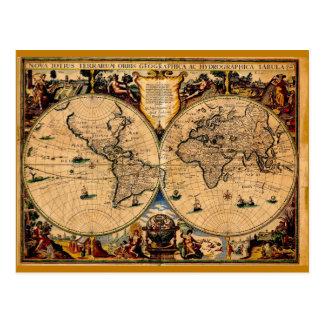 Vintage Map Nova totius terrarum 1625 Post Cards