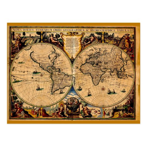 Vintage Map Nova totius terrarum 1625 Postcard
