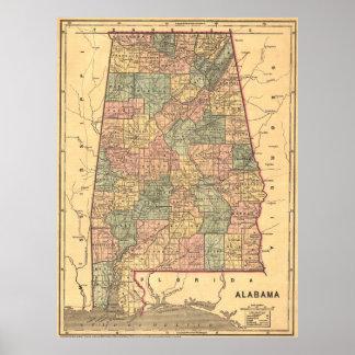 Vintage Map of Alabama (1848) Poster