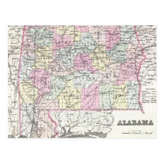 Vintage Map of Alabama (1855) Postcard