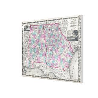 Vintage Map of Alabama and Georgia (1862) Canvas Print