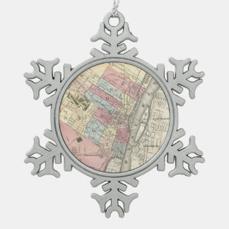 Vintage Map of Albany NY (1874) Snowflake Pewter Christmas Ornament