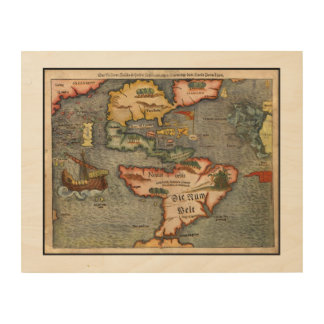 Vintage Map of America by Sebastian Munster Wood Wall Art