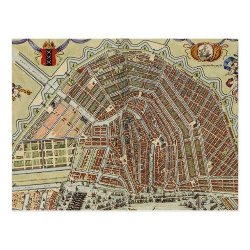 Vintage Map of Amsterdam (1688) Postcards