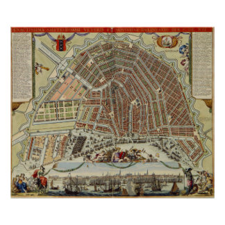 Vintage Map of Amsterdam (1688) Poster