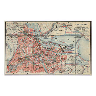 Vintage Map of Amsterdam (1905) (2) Poster