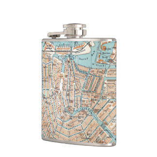 Vintage Map of Amsterdam (1905) Hip Flask