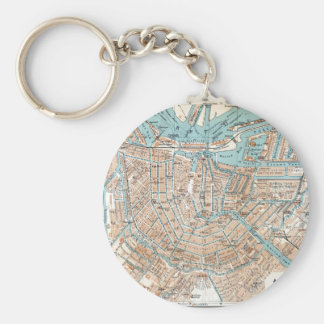 Vintage Map of Amsterdam (1905) Key Ring