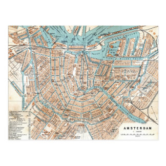 Vintage Map of Amsterdam 1905 Postcards
