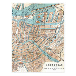 Vintage Map of Amsterdam (1905) Postcard