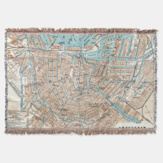 Vintage Map of Amsterdam (1905) Throw Blanket