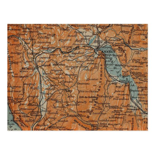 Vintage Map of Annecy France (1914) Postcard