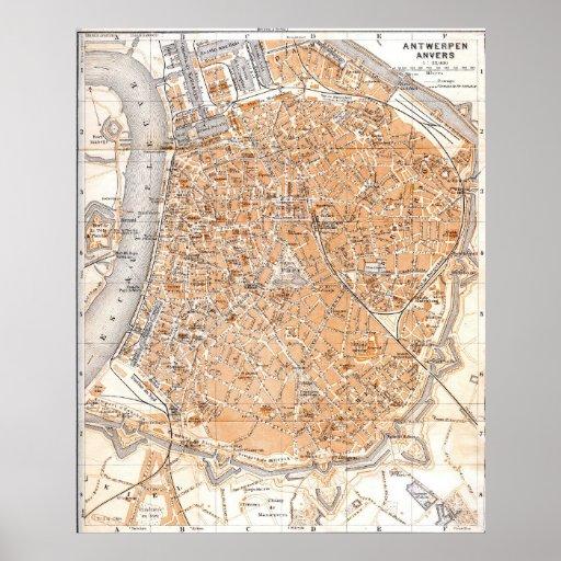 Vintage Map of Antwerp Belgium (1905) Poster