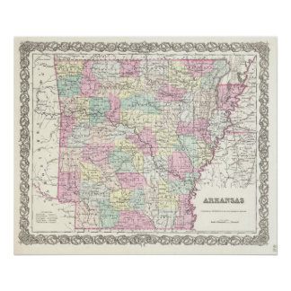 Vintage Map of Arkansas (1855) Poster