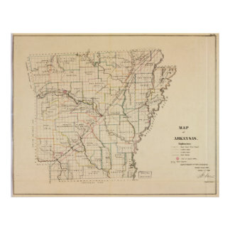 Vintage Map of Arkansas (1866) Poster