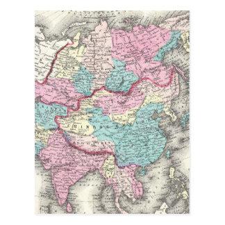 Vintage Map of Asia (1855) Postcard
