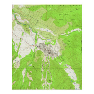Vintage Map of Aspen Colorado (1960) Poster