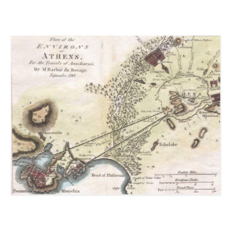Vintage Map of Athens (1784) Postcard