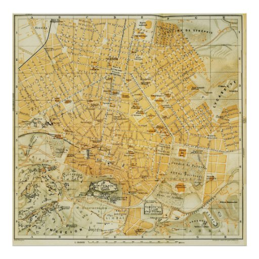 Vintage Map of Athens Greece (1894) Poster