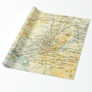 Vintage Map of Athens Greece (1894) Wrapping Paper