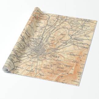 Vintage Map of Athens Greece (1908) Wrapping Paper