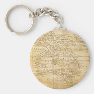 Vintage Map of Australasia Key Ring