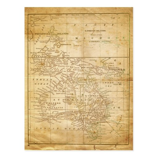 Vintage Map of Australasia Post Cards