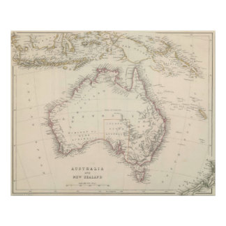Vintage Map of Australia (1848) Poster