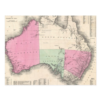 Vintage Map of Australia (1862) Postcard