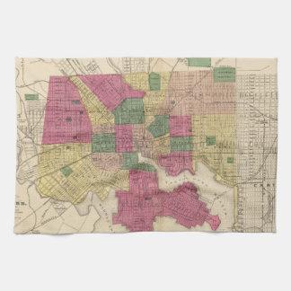Vintage Map of Baltimore (1873) Tea Towel