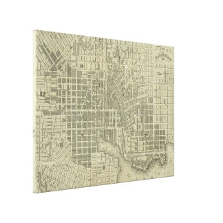 Vintage Map of Baltimore Maryland (1832) Canvas Print