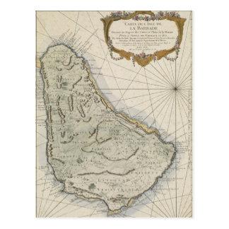 Vintage Map of Barbados (1758) Postcard