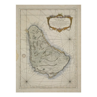 Vintage Map of Barbados (1758) Poster