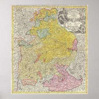 Vintage Map of Bavaria Germany (1728) Poster