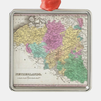 Vintage Map of Belgium (1827) Silver-Colored Square Decoration
