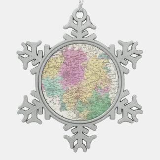 Vintage Map of Belgium (1827) Pewter Snowflake Decoration