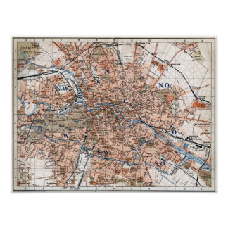 Vintage Map of Berlin Germany (1894) Poster