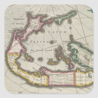 Vintage Map of Bermuda (1638) Square Sticker