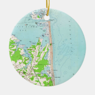 Vintage Map of Bethany Beach Delaware (1954) Christmas Ornament