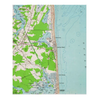 Vintage Map of Bethany Beach Delaware (1954) Poster