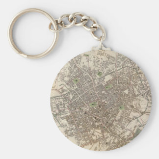 Vintage Map of Birmingham England (1839) Basic Round Button Key Ring