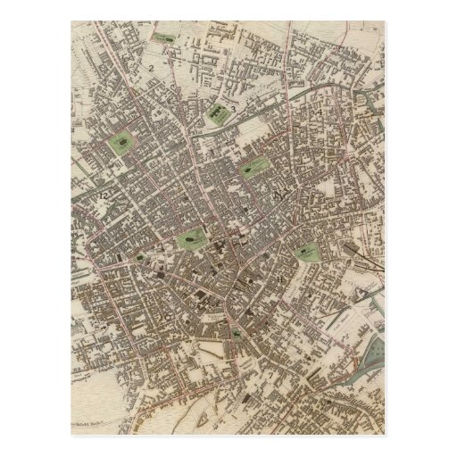 Vintage Map of Birmingham England (1839) Post Card