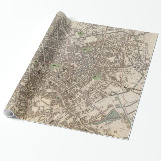 Vintage Map of Birmingham England (1839) Wrapping Paper