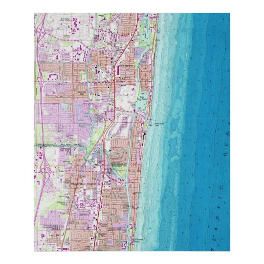 Vintage Map of Boca Raton Florida (1962) Poster