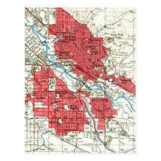 Vintage Map of Boise Idaho (1954) Postcard